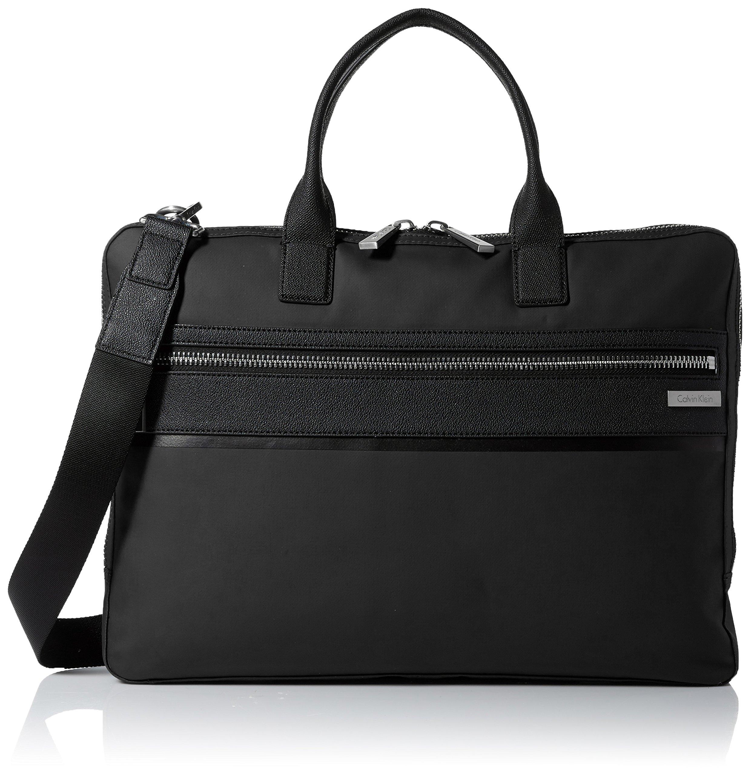 Calvin Klein Men's Nylon with Saffiano Trim Slim Attache, Black