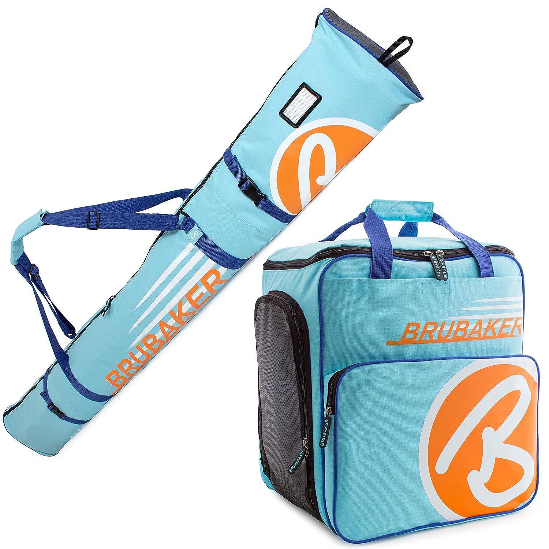 Brubaker Kombi Set Champion - Limited Edition - Skisack und Skischuhtasche für 1 Paar Ski 170 cm oder 190 cm + Stöcke + Schuhe + Helm Hellblau Orange