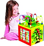 Deluxe 5 in 1 Bead Maze Cube Activity Center Multifunctional with Turning Base