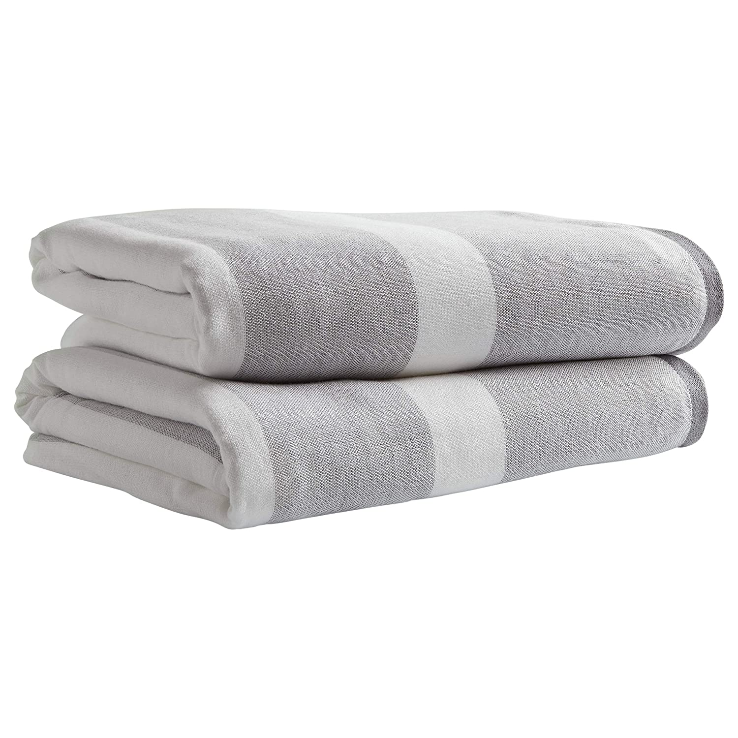 Stone & Beam Casual Striped Cotton Bath Towels, 2-Pack, Grey