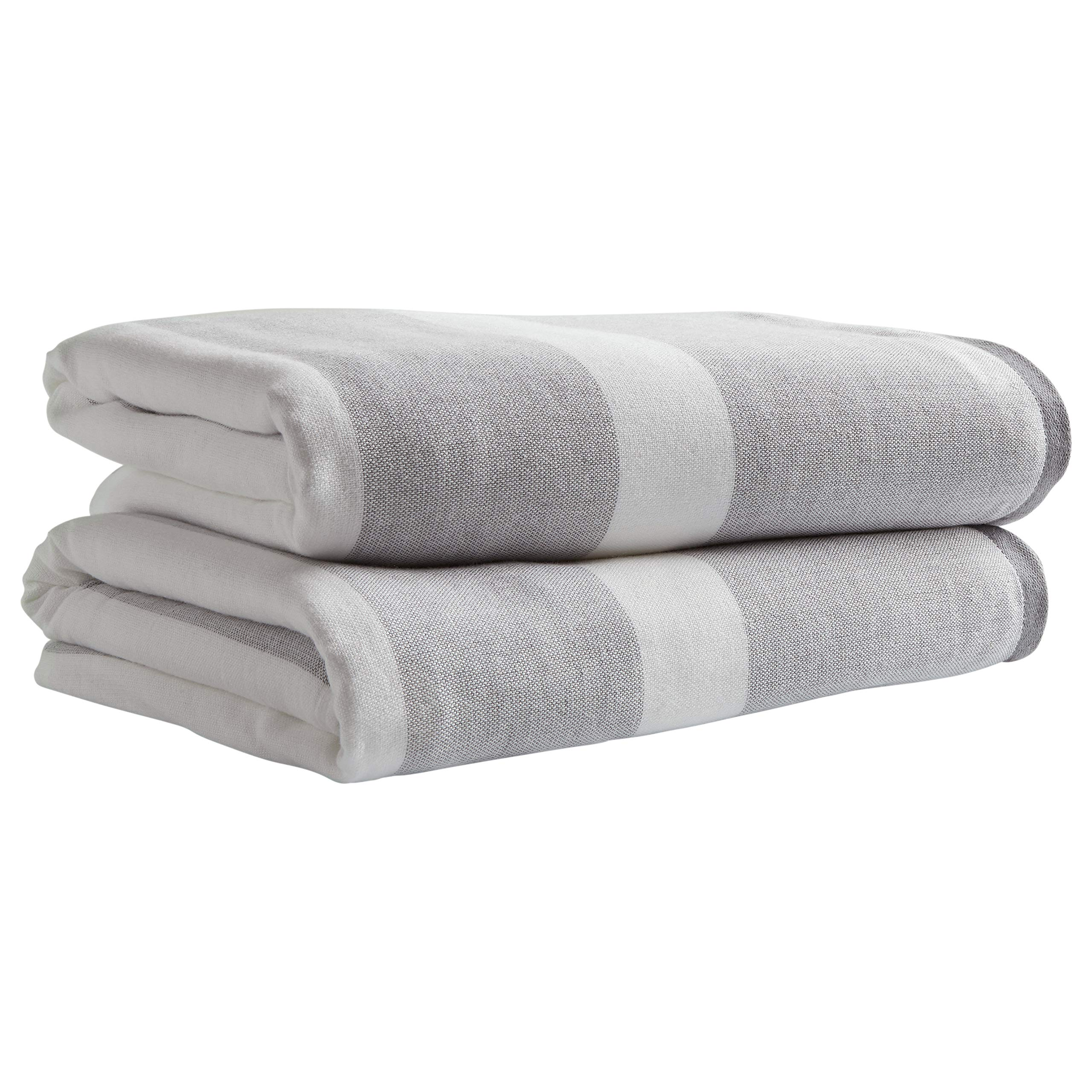 Stone & Beam Casual Striped Cotton Bath Towels, Set of 2, Grey