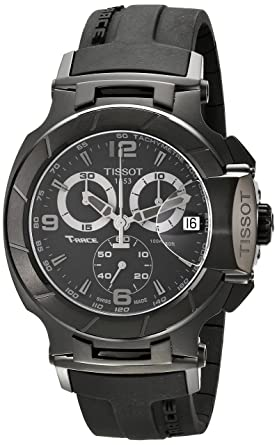 f5045011588 Image Unavailable. Image not available for. Color: Tissot Men's  T0484173705700 T-Race Stainless Steel Black Watch with Rubber Strap