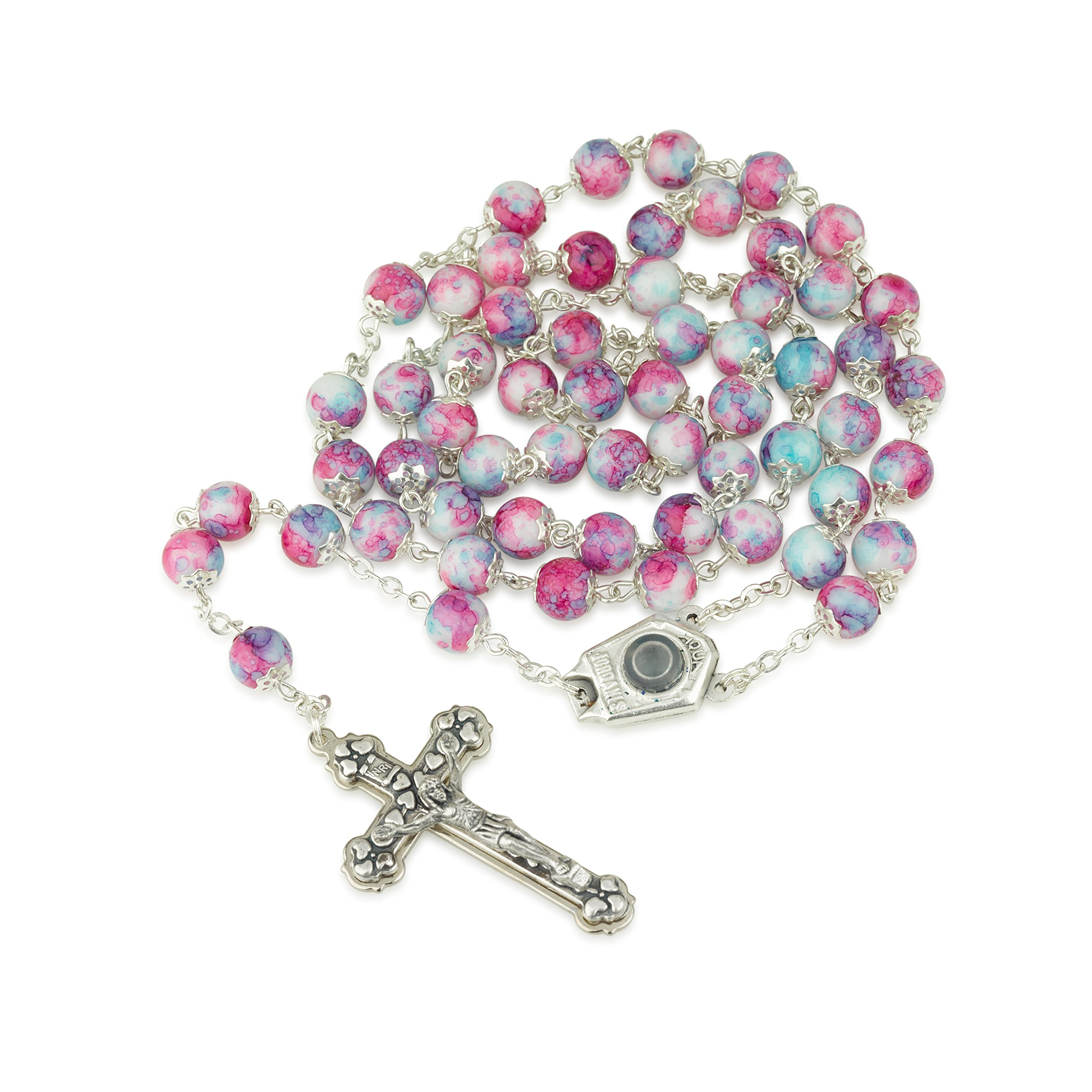 Marina Jewellery Hand Painted Glass Necklace Rosary, Jordan River Water Center, Silver Plate, Crucifix
