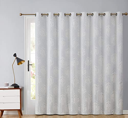 HLC.ME Damask Flocked 100 Complete Blackout Thermal Insulated Window Curtain Grommet Panel for Sliding Glass Patio Door – Energy Savings Soundproof 100 x 84 inches Long, Ivory