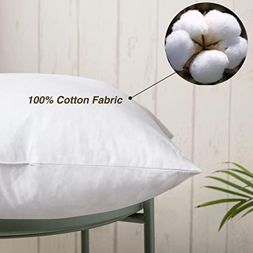 100 Cotton Throw Pillow Insert – Sham Stuffer Filled with Down and Feather for Firm Sleepers – Square Decorative Couch pillows Used for Sofa and Bed, Set of 2, White, 20×20 Throw Pillows