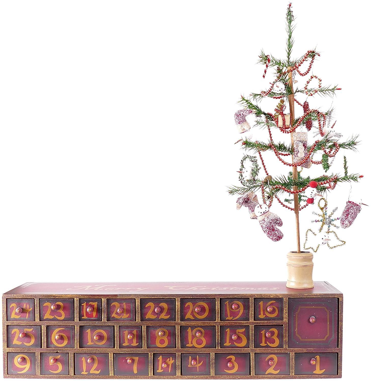 Amazon.com: Vintage Snowman Wooden Advent Calendar With Drawers ...