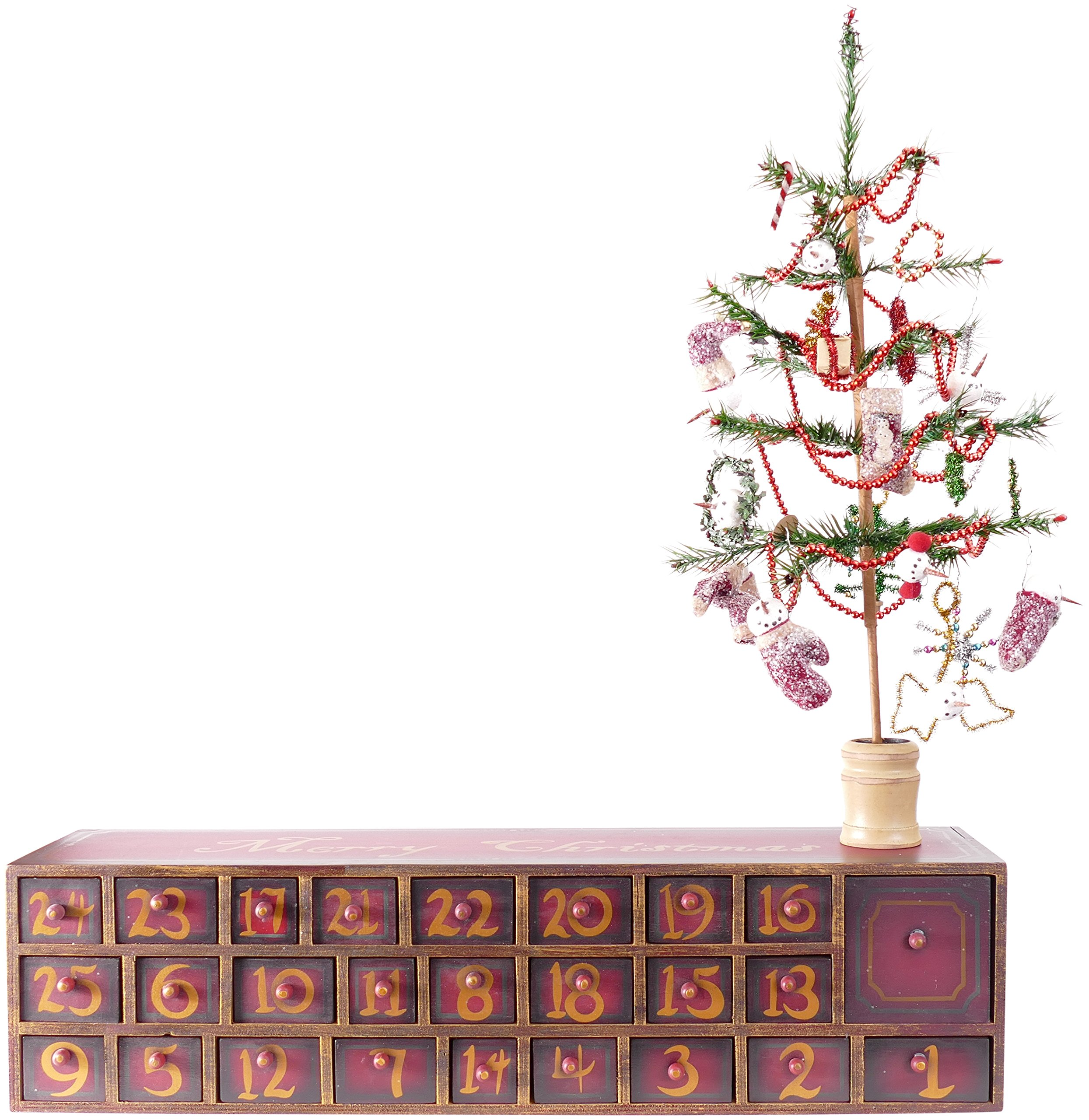 Vintage Snowman Wooden Advent Calendar With Drawers, Tree and Ornaments from Primitives by Kathy by Primitives by Kathy