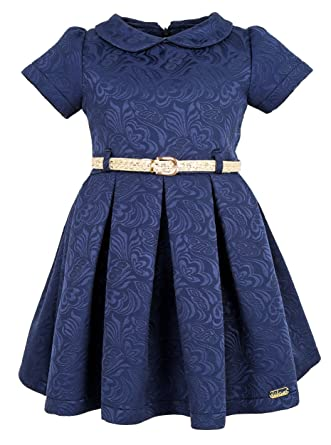 c9202bce048 Amazon.com  Lilax Little Girls  Flocked Occasion Dress Shimmer Belt ...