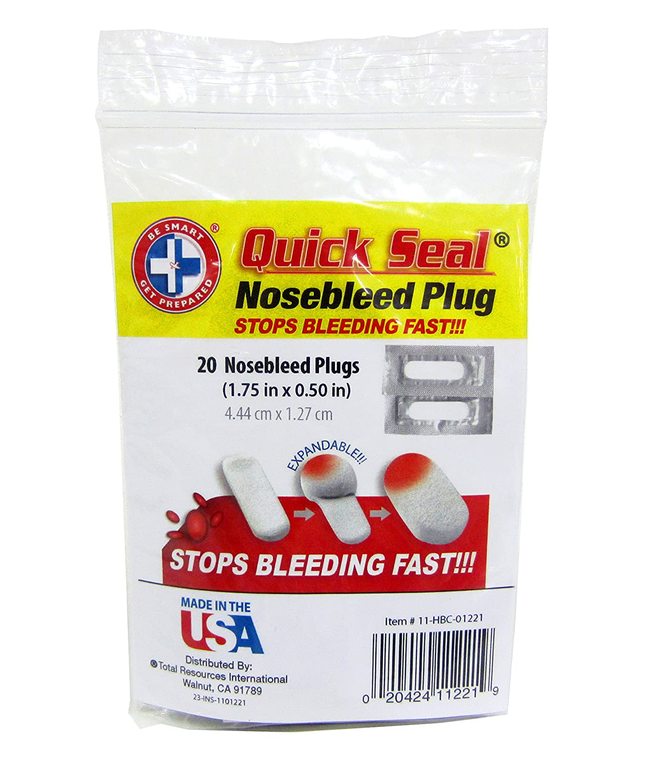 Amazon.com: Be Smart Get Prepared Quick Seal Nosebleed Plugs. Stops  Bleeding Fast, Non-Stick and Easy to Remove. (20 Plugs Included).