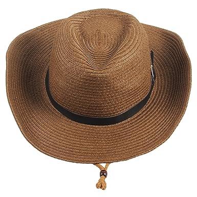 Sidiou Group Men s Western Straw Cowboy Hat Women Beach Cap Wide Brim  Church Cap Unisex Fedora a90b2cfe36b1