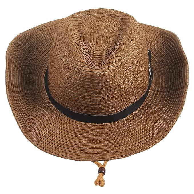 138a721d94dc77 Sidiou Group Men's Western Straw Cowboy Hat Women Beach Cap Wide Brim  Church Cap Unisex Fedora