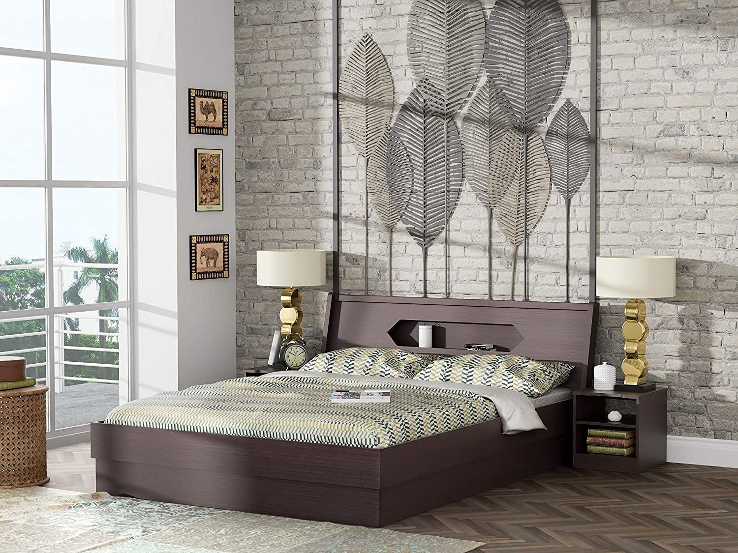 Stylespa Cove Queen Size Bed with Headboard Storage (Bamboo)