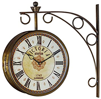 swagger 8 inches brass finish double sided victorian station clock vintage wall clock antique
