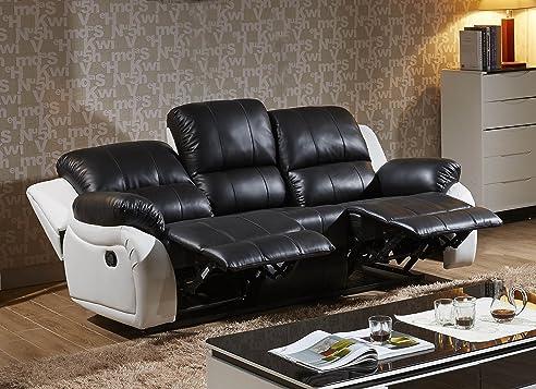 Voll-Leder Fernsehsessel Couch Sofa-Garnitur Relaxsessel ...