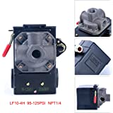 Lefoo Quality Air Compressor Pressure Switch Control 95-125 PSI 4 Port w/ Unloader LF10-4H-1-NPT1/4-95-125