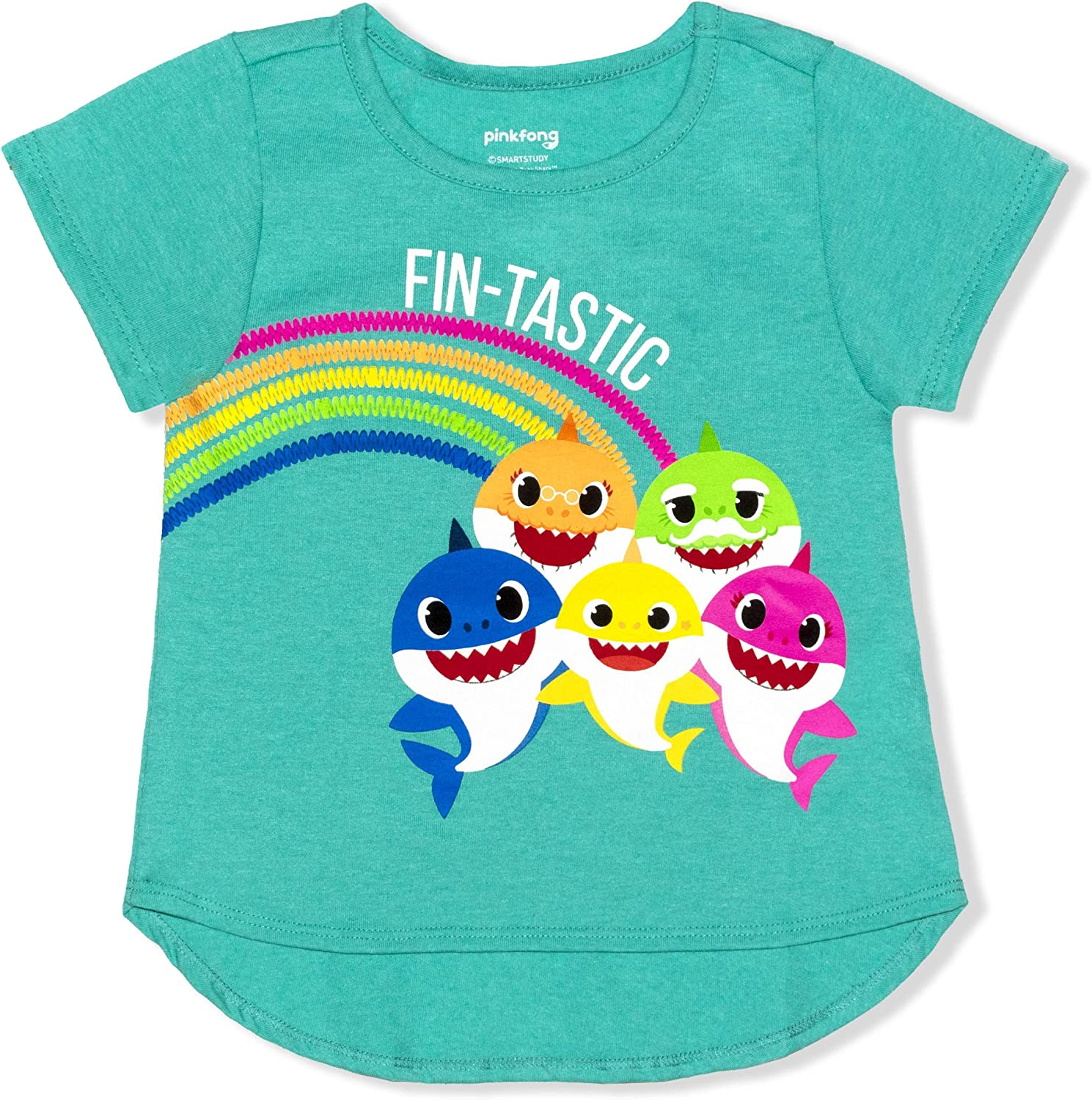 Nickelodeon Baby Shark Shirt for Girls, Short Sleeves Hi-Low Tee for Toddlers
