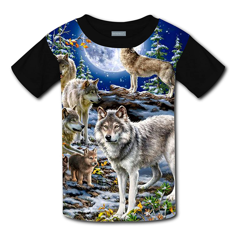 Unisex Kids The Forest Wolf Moon Night Round Collar Short sleeve T- Shirt-Rose