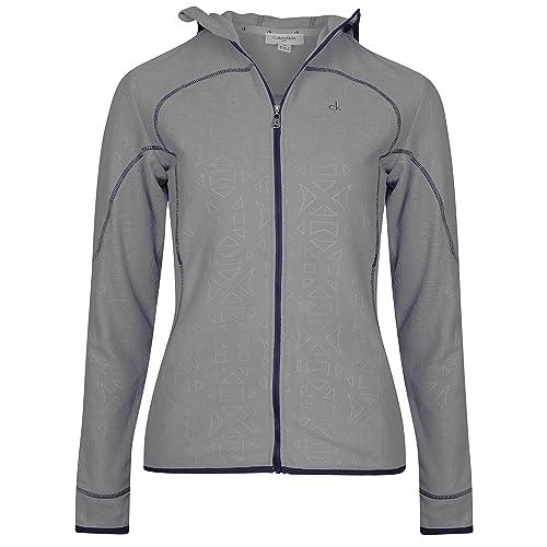 50% de descuento Nueva Calvin Klein Mujer Forro Polar con capucha chaqueta cremallera completa sudadera Top