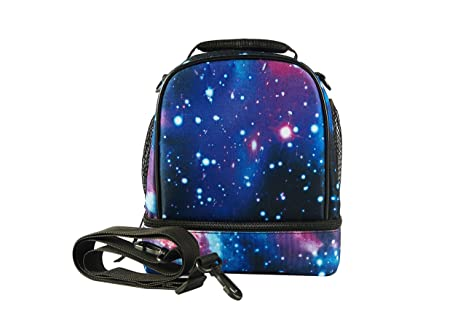 3fd4b53b9bc2 glowintime Kids Galaxy Lunch Bag Insulated Dual Compartment with Bottle  Holder Two Compartment with Shoulder Strap for Boys and Girls