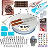 67 pcs Cake Decorating Supplies Kit for Beginners-1 Turntable stand-24 Numbered Easy to use icing tips with pattern chart and E.Book-1 Cake Leveler-Straight and Angled Spatula-3 Russian Piping nozzles