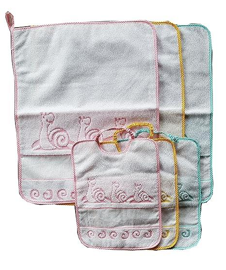 Juego 3 bavaglie + 3 Toallitas 100% algodón con nombre bordado Dibujo Caracol Color de
