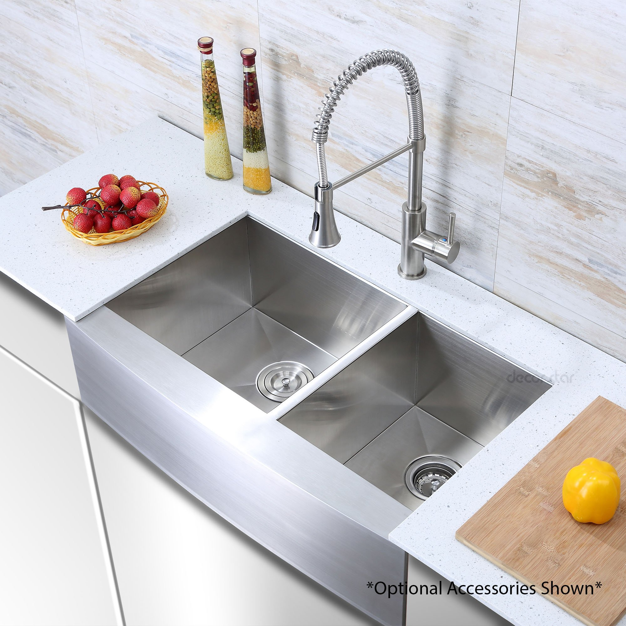 Decor Star F-002-Z 33 Inch x 20 Inch Farmhouse Apron 60/40 Offset Double Bowl 16 Gauge Stainless Steel Luxury Handmade Kitchen Sink cUPC Zero Radius