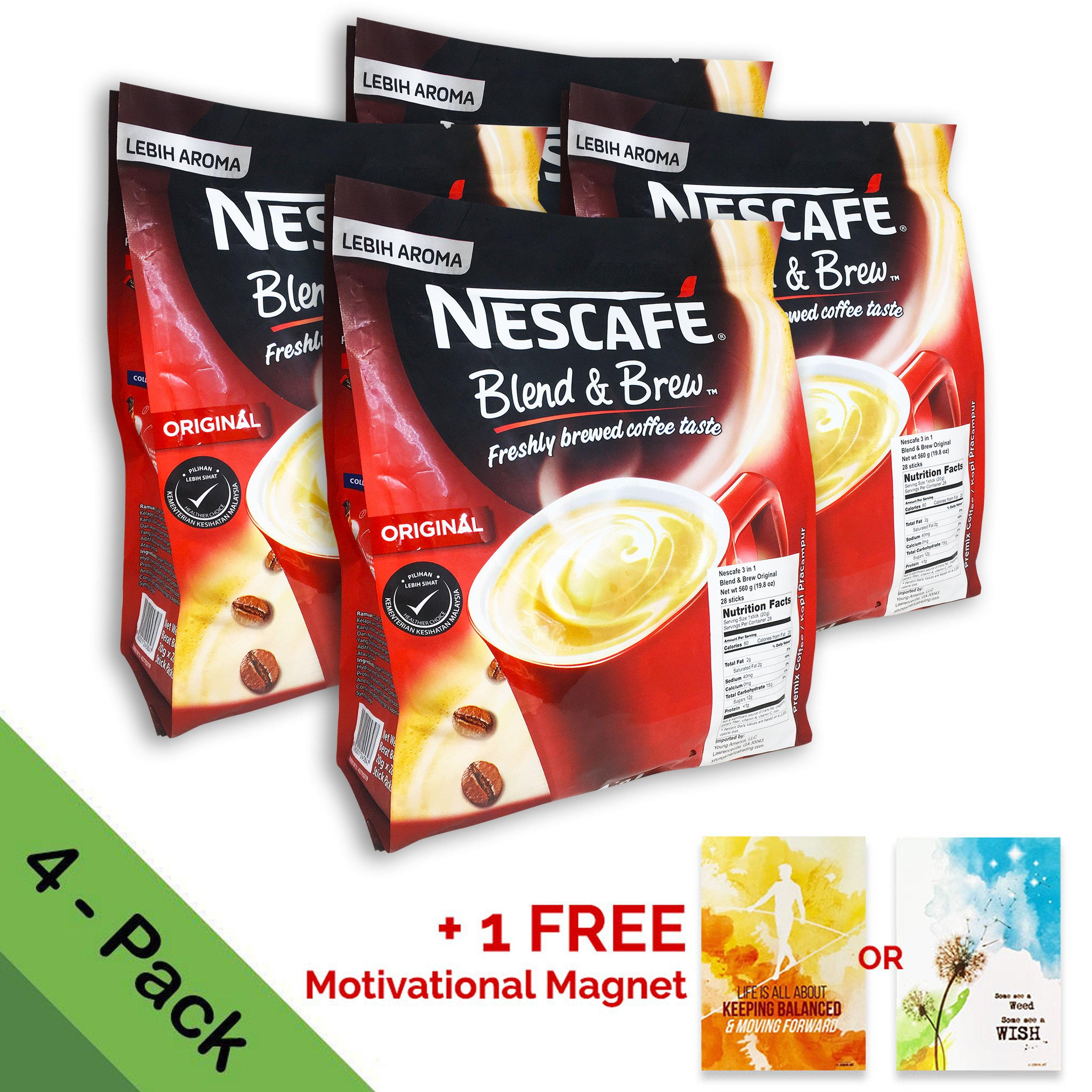 [4 PACK] Nescafé 3 in 1 Instant Coffee Sticks ORIGINAL - Best Asian Coffee Imported from Nestle Malaysia (112 Sticks) by Nescafe