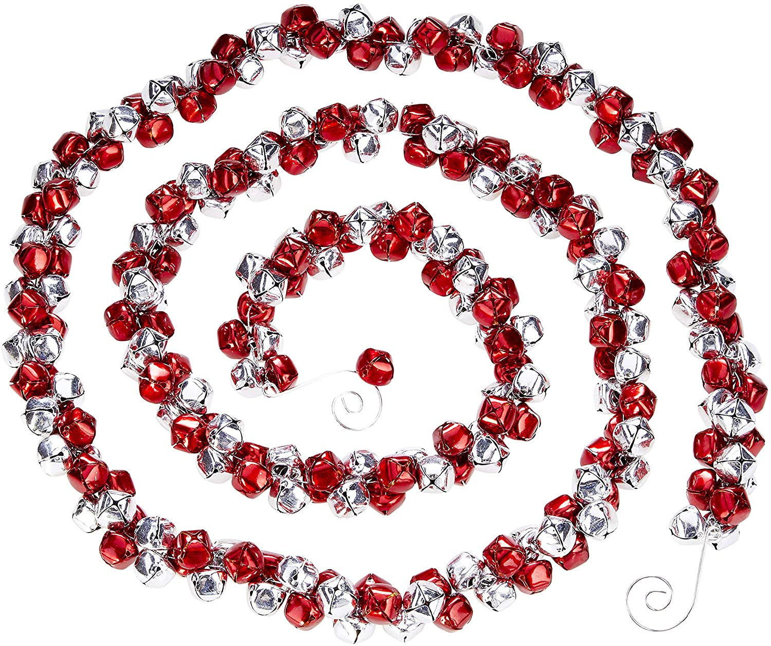Metal TenWaterloo 56 Inch Jingle Bell Christmas Garland in Red and Silver