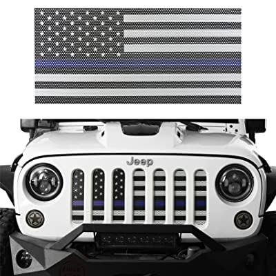Hooke Road Jeep Wrangler Grill Screen American Flag Grille Insert Bug Deflector for 2007-2020 Jeep Wrangler JK & Wrangler Unlimited (Thin Blue Line): Automotive