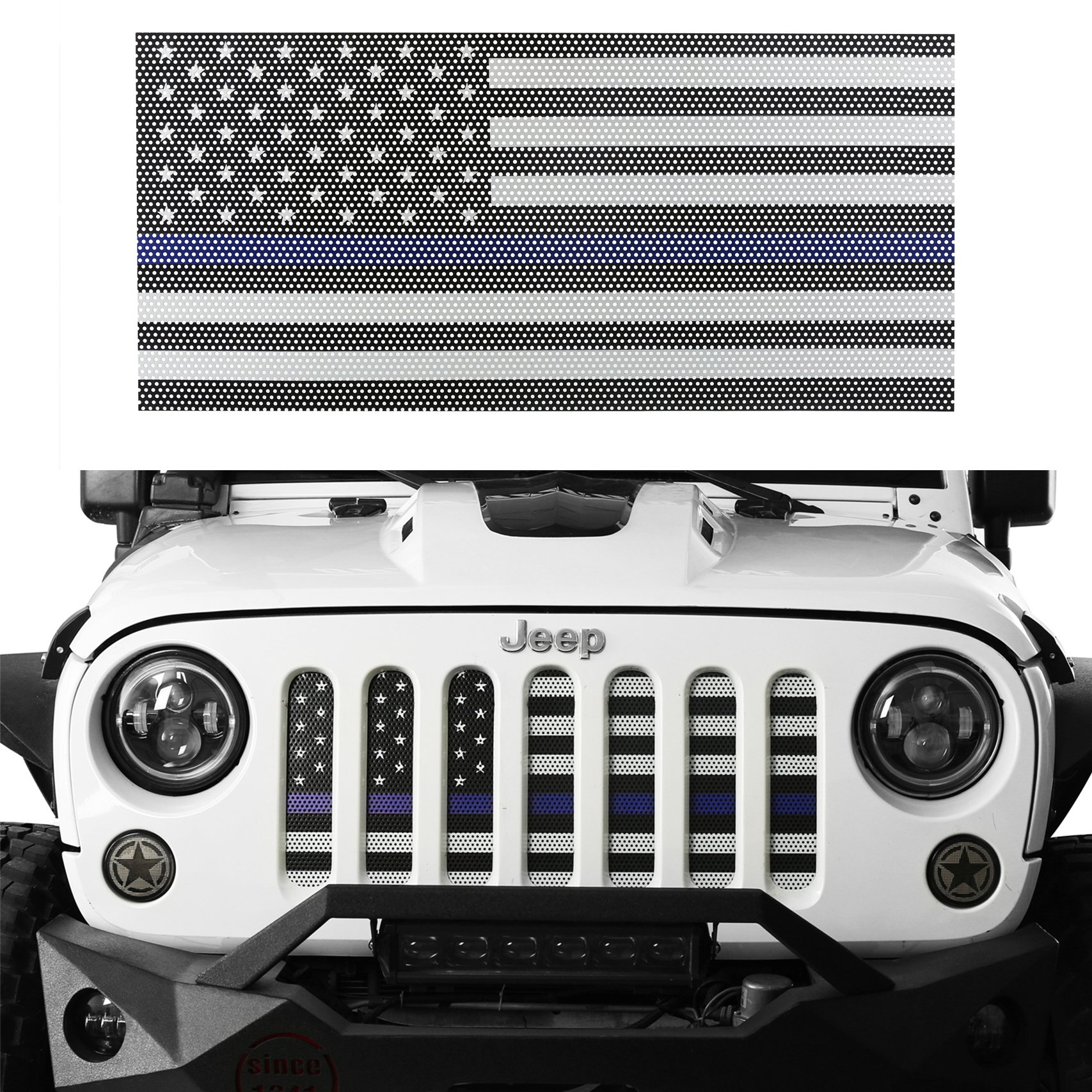 Hooke Road Jeep Wrangler Grill Screen American Flag Grille Insert Bug Deflector for 2007-2018 Jeep Wrangler JK & Wrangler Unlimited (Thin Blue Line)