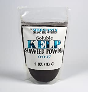 Soluble Kelp Seaweed Powder - 4 Ounces for Plant Root Development and Growth Stimulant 0-0-17 Organic Fertilizer