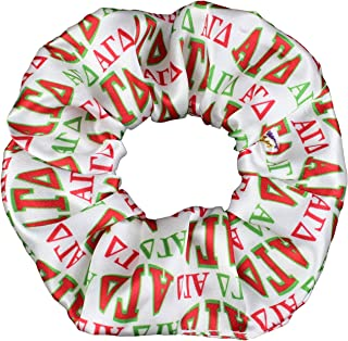 product image for Alpha Gamma Delta Satin Sorority Scrunchies Officially Licensed Greek Letters Print Ponytail Holders Scrunchie KingMade in the USA