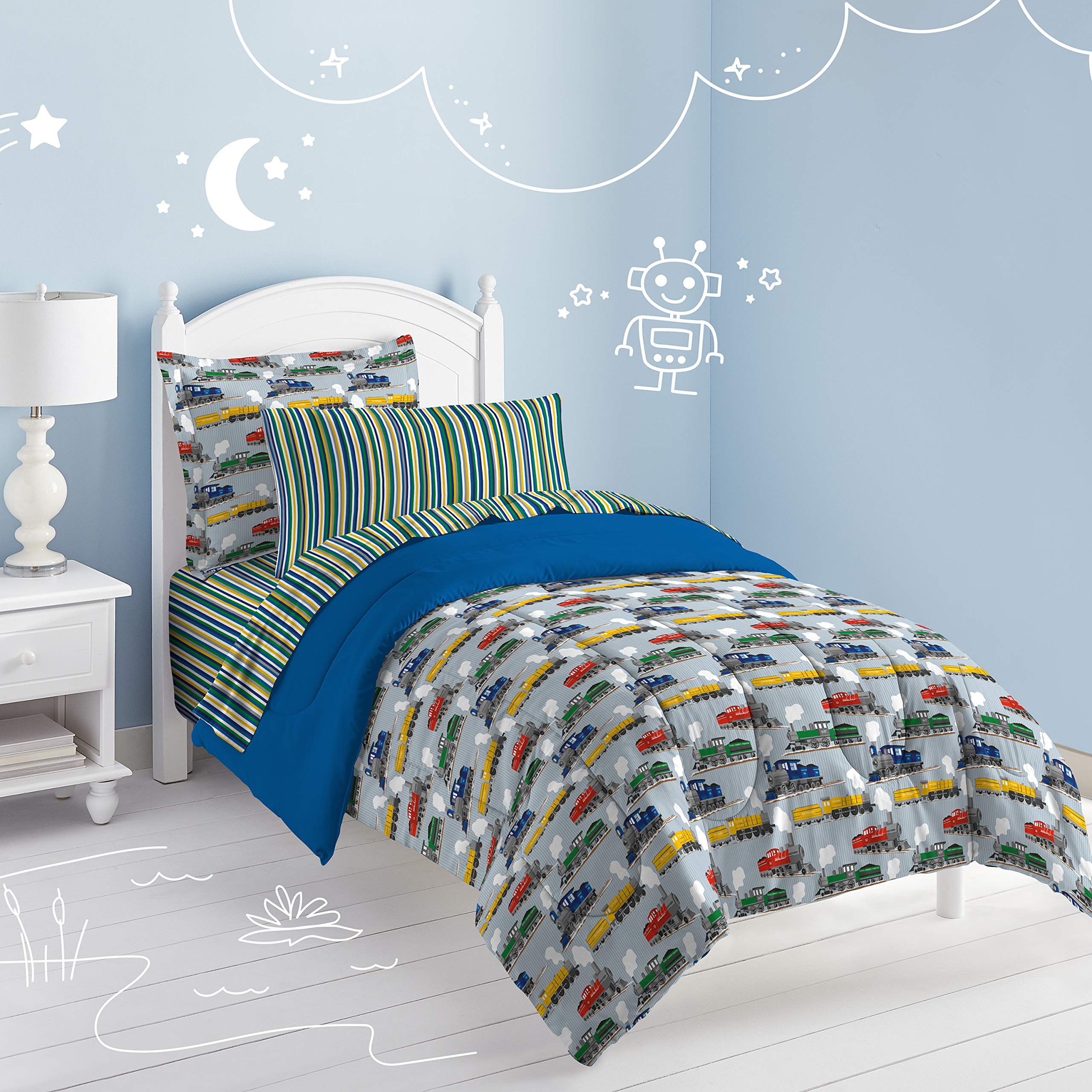 Dream Factory Trains Ultra Soft Microfiber Boys Comforter Set, Blue, Full by Dream Factory (Image #5)