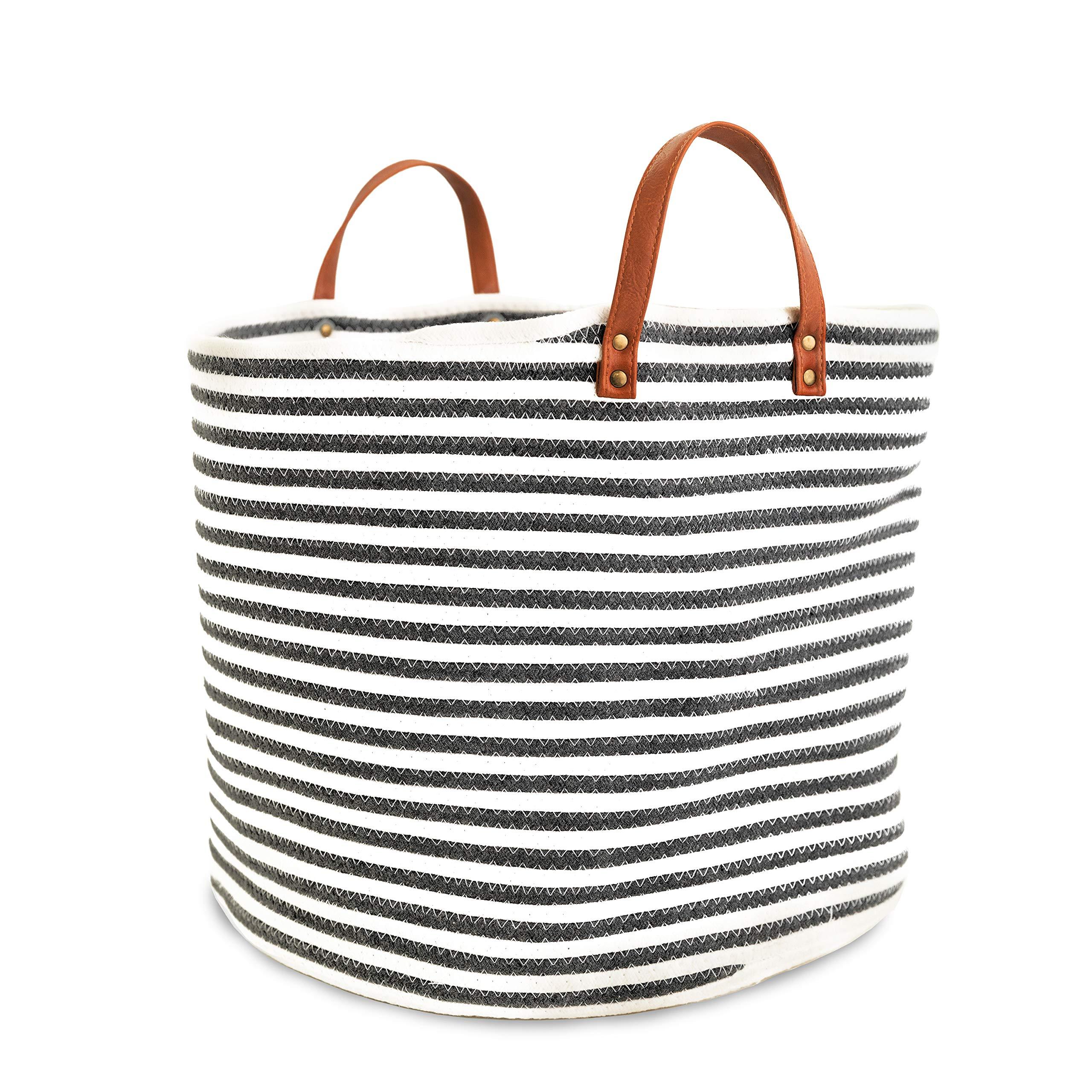 Large Cotton Rope Storage Basket 17'' Wide x 14.5'' Tall - Laundry Hamper - Woven Blanket Basket - Baby Nursery Storage Bin - Toy Organizer by MI RISINGSTAR
