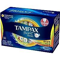 4-Pack Tampax Pocket Pearl Plastic Tampons Regular/Super/Super Plus Multipack, 34 Count