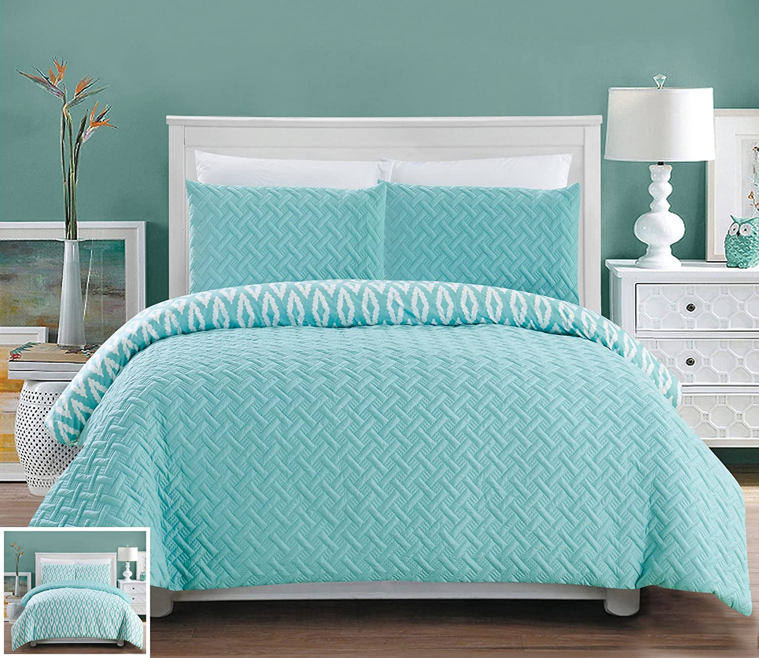 Chic Home 3 Piece Ora Heavy Embossed and Embroidered Quilted Geometrical Pattern Reversible Printed Queen Comforter Set Aqua