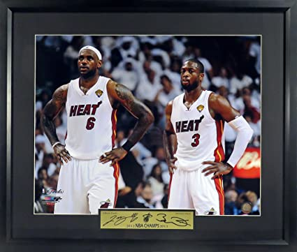"c4056a536be Amazon.com  Miami Heat LeBron James   Dwyane Wade ""Champions"" 16x20 ..."