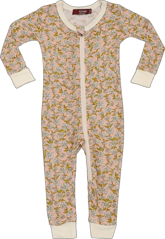 MilkBarn Bamboo Zip Pajamas Rose Floral