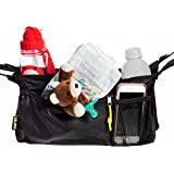 lojow (Tm) Collapsible Stroller Organizer, Black, Insulated Dual Drink Wells, Four-point Adjustable Straps, Zippered Cargo Pocket, Baby Shower Gift