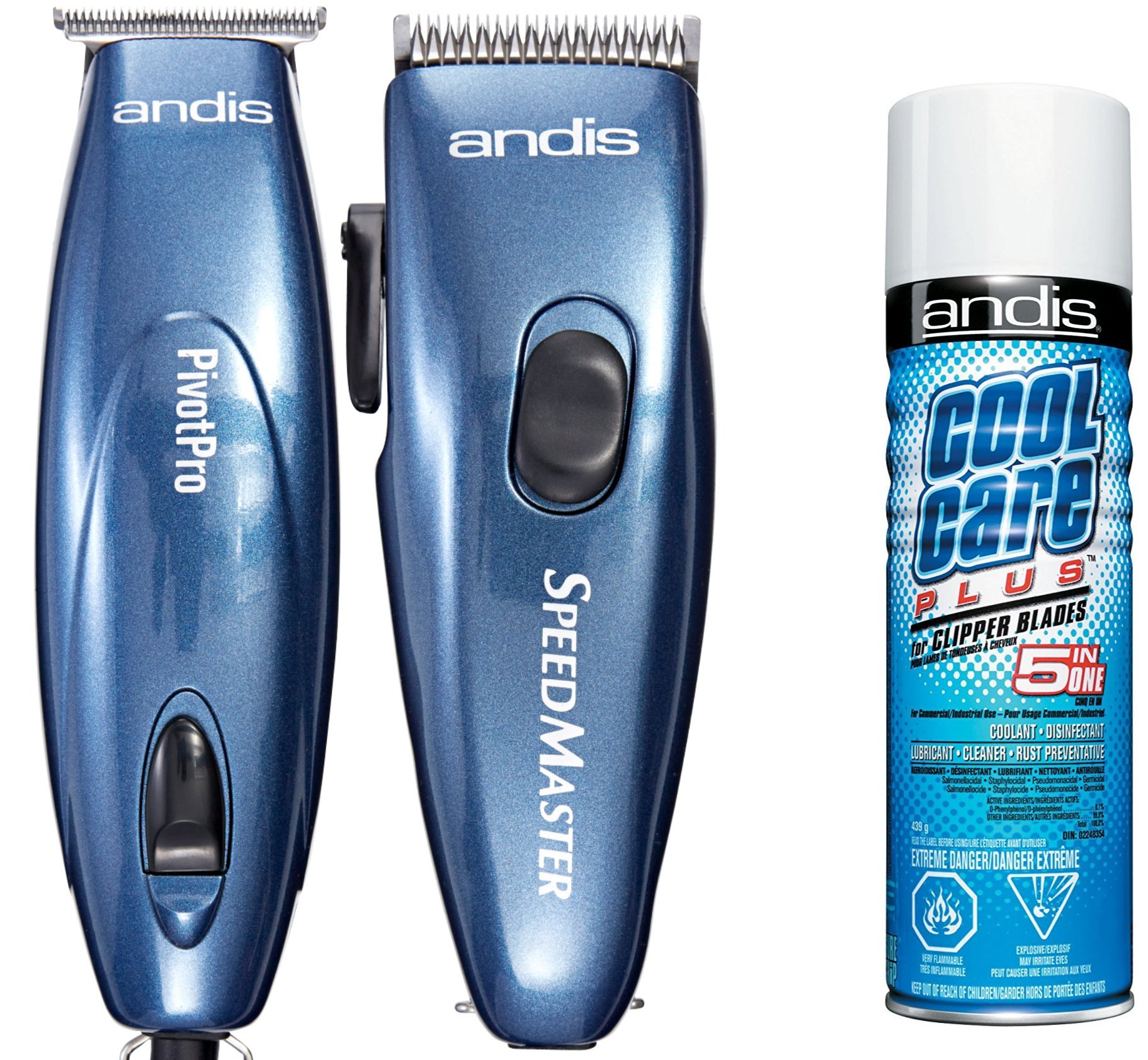Andis LIGHTWEIGHT Men's Hair Clippers and Hair T-BLADE Trimmer Combo Set with BONUS FREE Andis Cool Care Plus Clipper Blade Cleaner