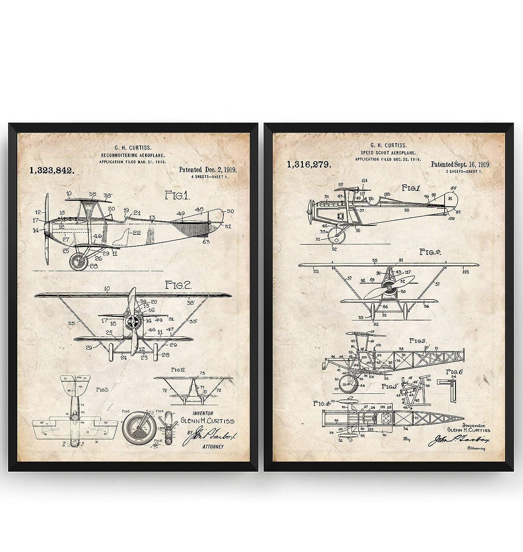 Aviation Aircraft Airplane Poster Gift Blueprint Retro Wall Art Original Decor Glenn Curtiss Aeroplane Set Of 2 Patent Prints Frame Not Included