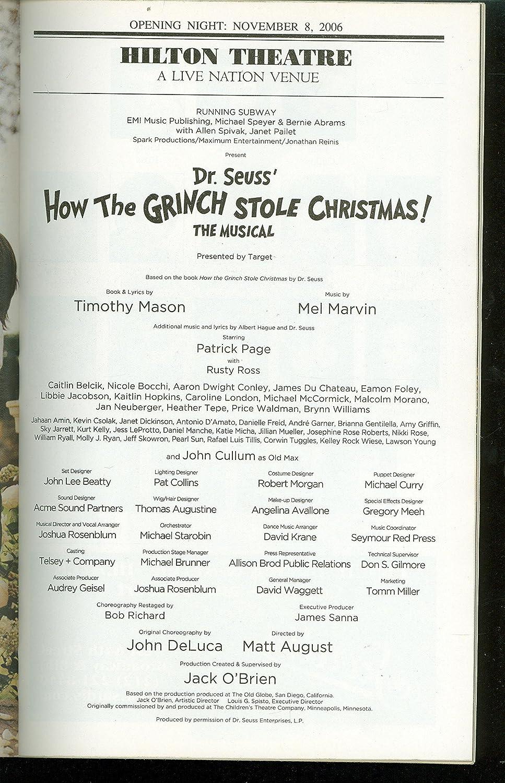 How The Grinch Stole Christmas Lyrics.Rusty Ross Playbill How The Grinch Stole Christmas Patrick