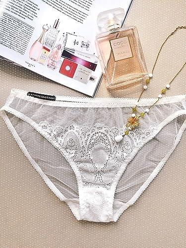 6c016b5f67b Amazon.com  White Openwork Lace and Mesh Bikini panties ⇼ Bride wedding  panties  Handmade