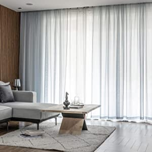 "Home Brilliant Semi Sheer Curtain Panels Window Curtains for Living Room, 54"" Width x 63"" Length, 2 Panels, Light Grey"