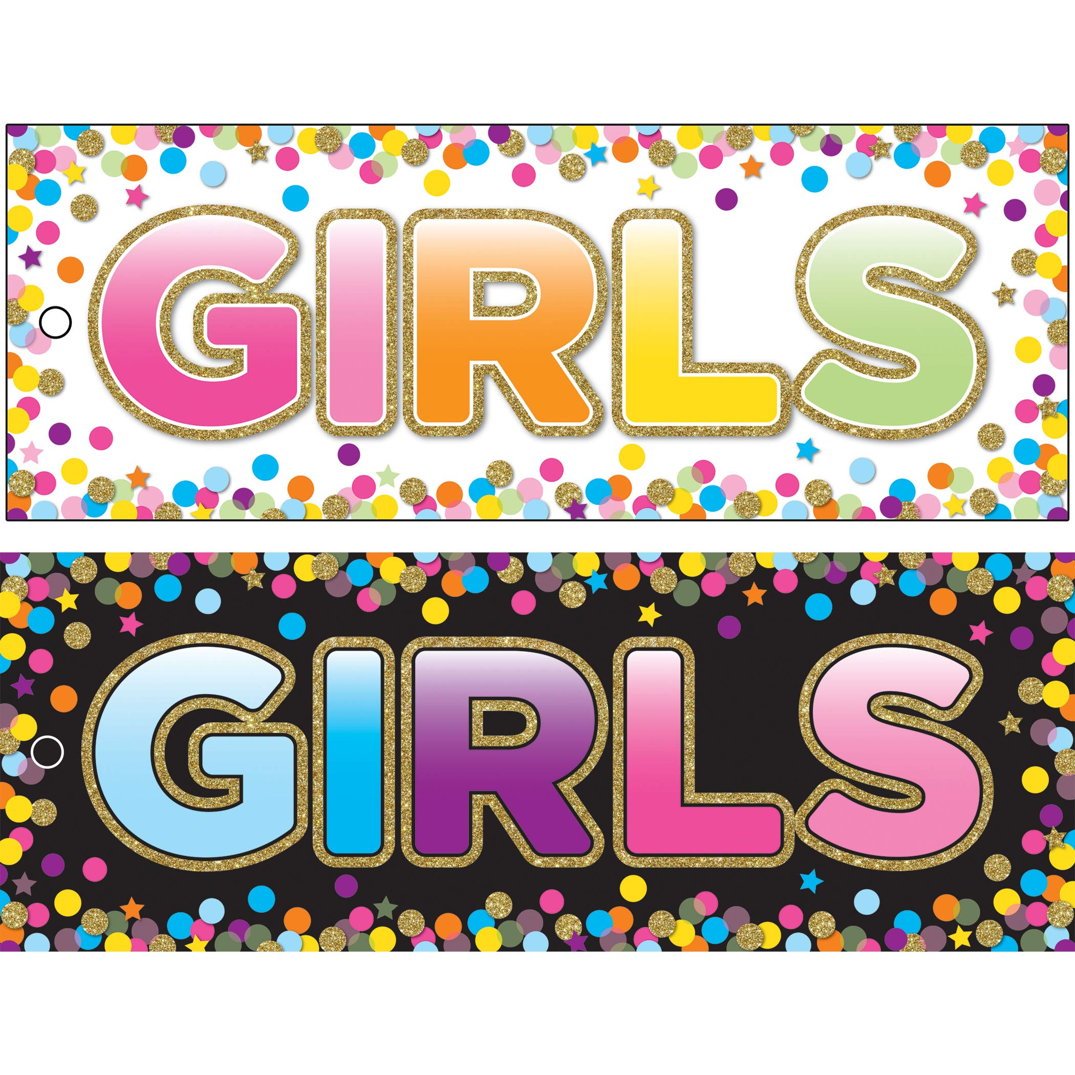Ashley Productions ASH10747BN Laminated Double-Sided Hall Passes, 9'' x 3.5'', Confetti Girls Pass, Pack of 10