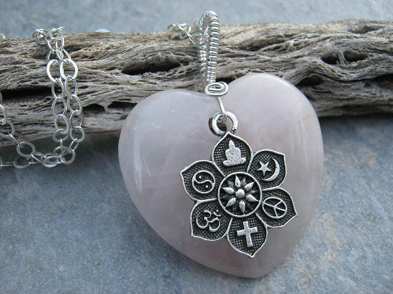 Sterling Silver Antiqued Rose-Flower Heart Pendant