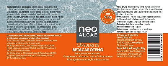 Betacaroteno en Cápsulas | Natural Acelera el Bronceado | Antioxidante y Mejora de la Visión | Procedente de Microalgas Asimilación | Fabricado y Envasado en España | 60 Cápsulas | Neoalgae: Amazon.es: Alimentación y bebidas