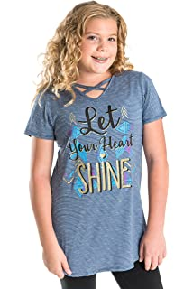 """389028949b Smile You Are Beautiful Girls Extra Fit Plus Size Kids Short Sleeve X Front  """"Let"""
