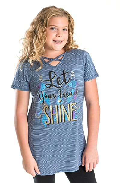 """e648fdb27b1 Smile You Are Beautiful Girls Kids Full Size Short Sleeve X Front """"Let Your  Heart"""