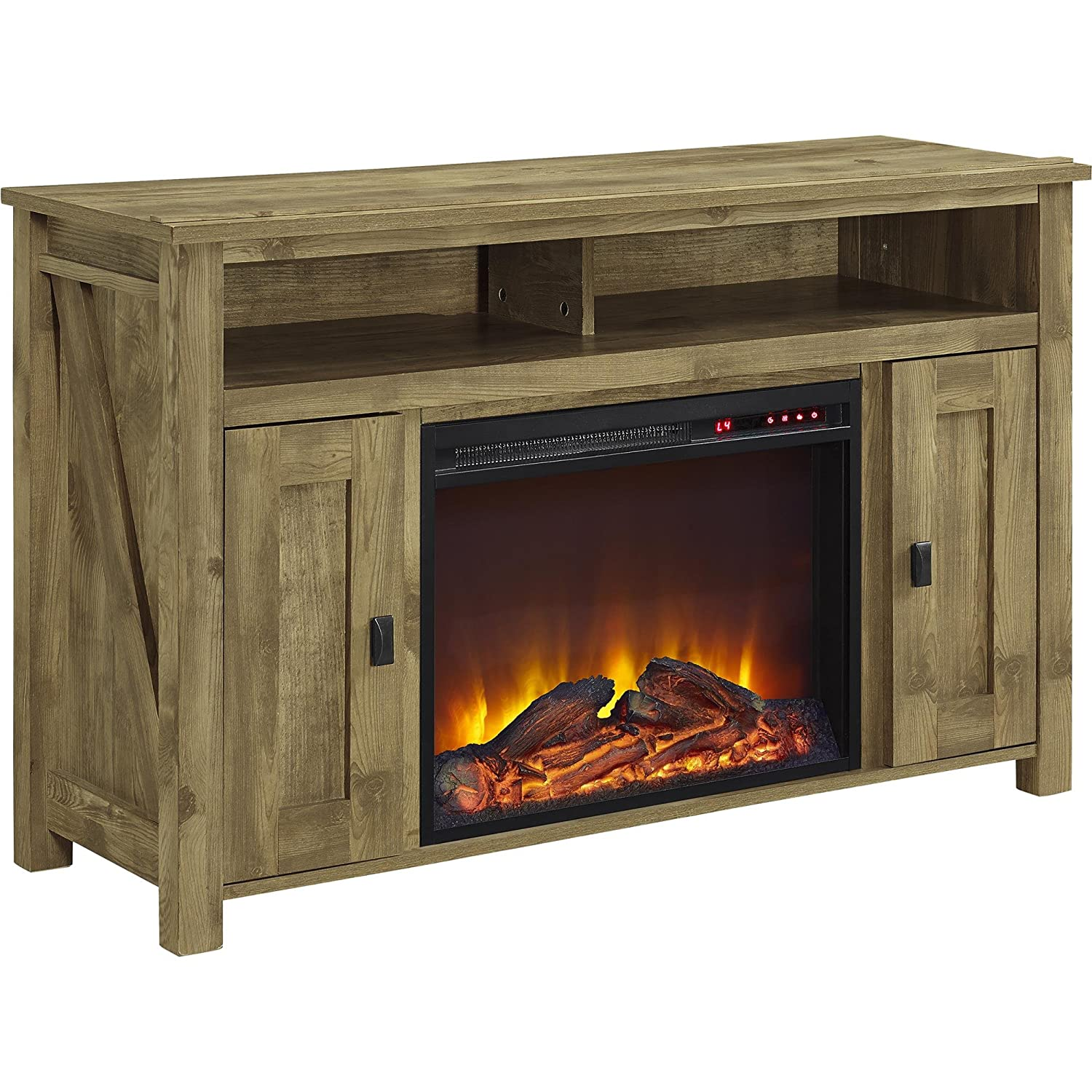 "Ameriwood Home Farmington Electric Fireplace TV Console for TVs up to 50"", Natural"